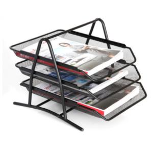 deli 3 tier mesh document tray set black 9181 hero 1