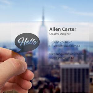 Translucent plastic business card mockup2