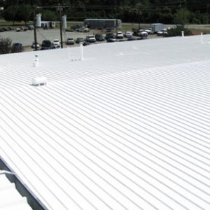 Overview After White Acryic Elastomeric Coating System Application to Metal Roof in Winston Salem NC